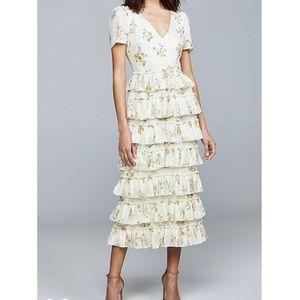 NWOT floral tiered midi dress